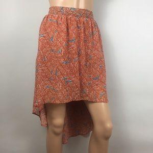 Forever 21 Orange Blue Casual Hi-Low Skirt